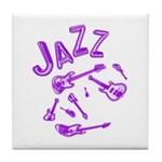 Jazz Electric Bass Purple Tile Coaster