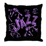Jazz Electric Bass Purple Throw Pillow