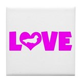 LOVE DACHSHUND (LONGHAIRED) Tile Coaster