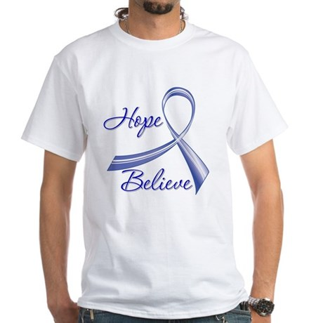 Hope Believe Colon Cancer White T-Shirt