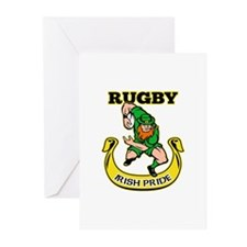 Irish leprechaun rugby Greeting Cards (Pk of 20)