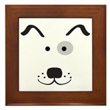 Cartoon Dog Face Framed Tile