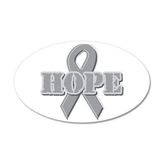 Silver Hope Ribbon 38.5 x 24.5 Oval Wall Peel