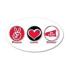 Peace Love Cheer Red 38.5 x 24.5 Oval Wall Peel