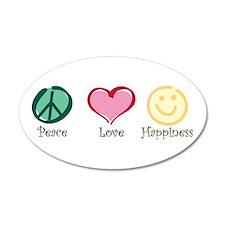 Peace Love Happiness 38.5 x 24.5 Oval Wall Peel