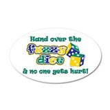 Hand over the fuzzy dice 38.5 x 24.5 Oval Wall Pee