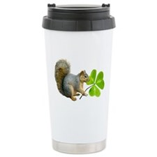 Shamrock Squirrel Ceramic Travel Mug