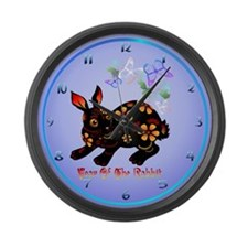 Year Of The Rabbit In Black Large Wall Clock