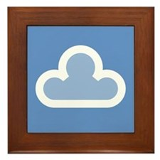 White Cloud Symbol Framed Tile
