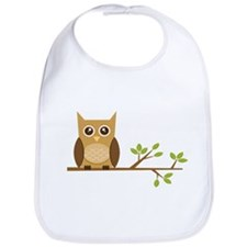 Brown Owl on Branch Bib