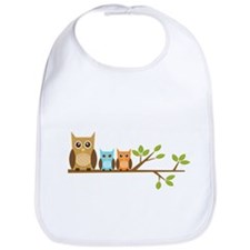 Boy Owl Family Bib