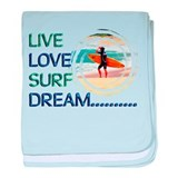 Live Love Surf Dream baby blanket