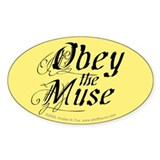 Obey the Muse Sticker - Yellow (Oval)