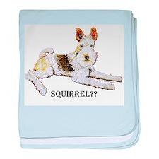 Squirrel Alert Fox Terrier baby blanket
