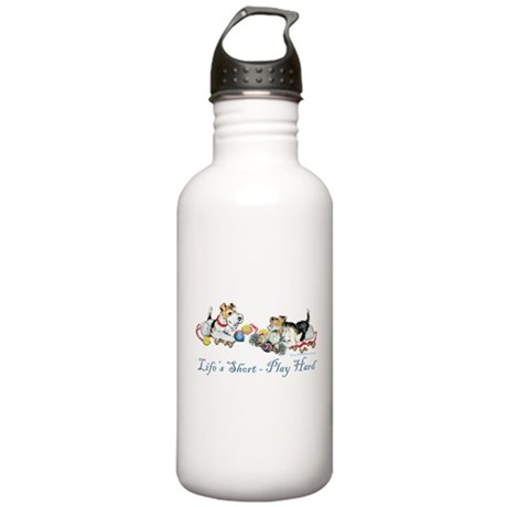 Fox Terriers Dog Play Stainless Water Bottle 1.0L