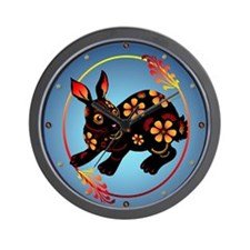 Black Designed Rabbit Wall Clock