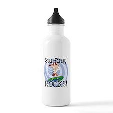 Boy Surfing Rocks Water Bottle
