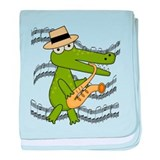 Crocodile With Saxophone baby blanket