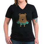 Cartoon Bear Women's V-Neck Dark T-Shirt