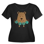 Cartoon Bear Women's Plus Size Scoop Neck Dark T-S
