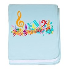 Colorful musical notes baby blanket