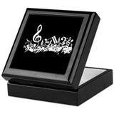 Black Musical notes splat Keepsake Box