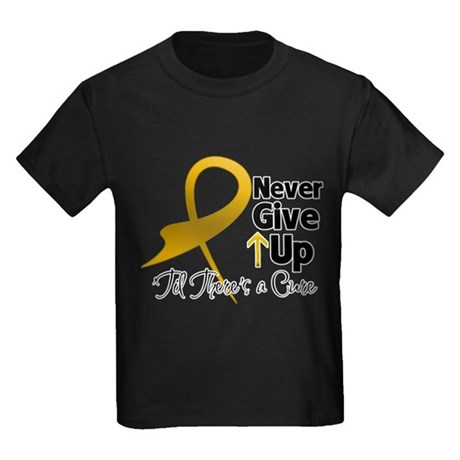Never Give Up Appendix Cancer Kids Dark T-Shirt