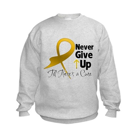 Never Give Up Appendix Cancer Kids Sweatshirt