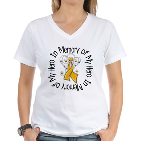 In Memory Appendix Cancer Women's V-Neck T-Shirt