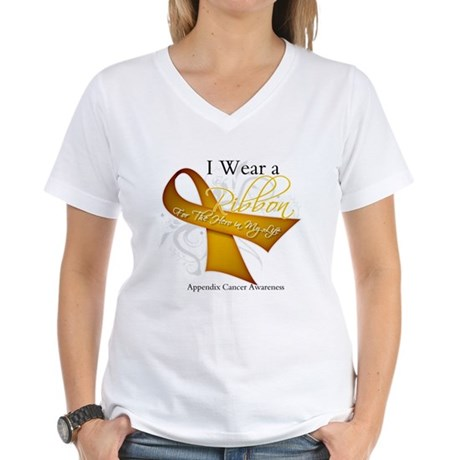 Ribbon Hero Appendix Cancer Women's V-Neck T-Shirt