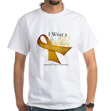 Ribbon Hero Appendix Cancer White T-Shirt