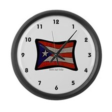 Puerto Rico Flag Graffiti Large Wall Clock