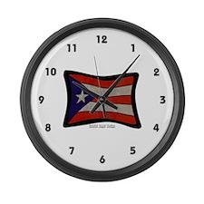 Puerto Rico Flag Graffiti Large Wall Clock