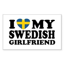 I Love My Swedish Girlfriend Rectangle Decal