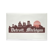 Detroit Linesky Rectangle Magnet