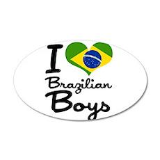 I Heart Brazilian Boys 38.5 x 24.5 Oval Wall Peel