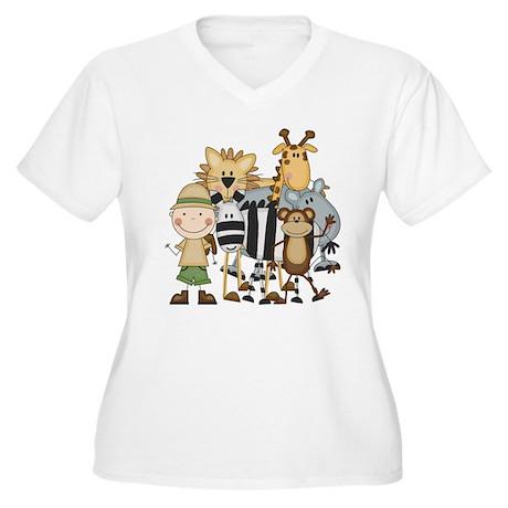 Boy on Safari Women's Plus Size V-Neck T-Shirt