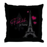 Paris je t'aime Throw Pillow (pink)