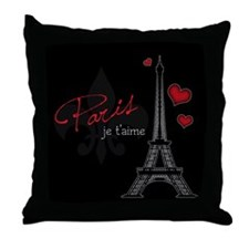 Paris je t'aime Throw Pillow (red)