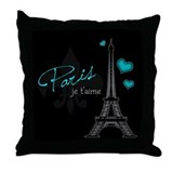 Paris je t'aime Throw Pillow (blue)