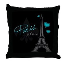 Paris je t'aime Throw Pillow (blue)