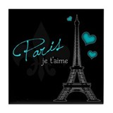 Paris je t'aime Tile Coaster (blue)