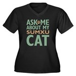 Sumxu Cat Women's Plus Size V-Neck Dark T-Shirt