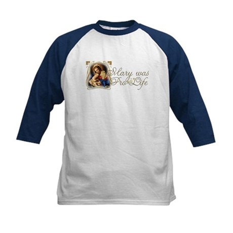 """Mary was Pro-Life"" Kids Baseball Jersey"