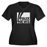 Faux News Women's Plus Size V-Neck Dark T-Shirt