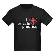 I Love Private Practice Kids Dark T-Shirt