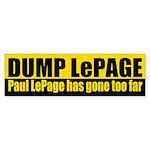 Dump Paul LePage bumper sticker for Maine