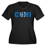 CNMI Women's Plus Size V-Neck Dark T-Shirt