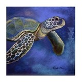 Turtle Blues Tile Coaster