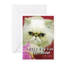 White Persian and Pink Greeting Cards (Pk of 20)